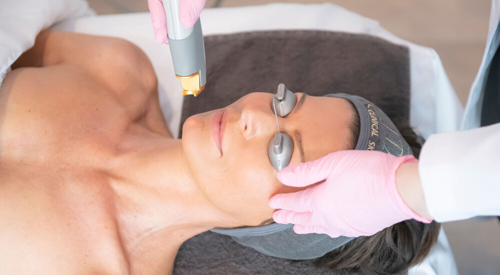 A woman getting Laser Genesis Treatment